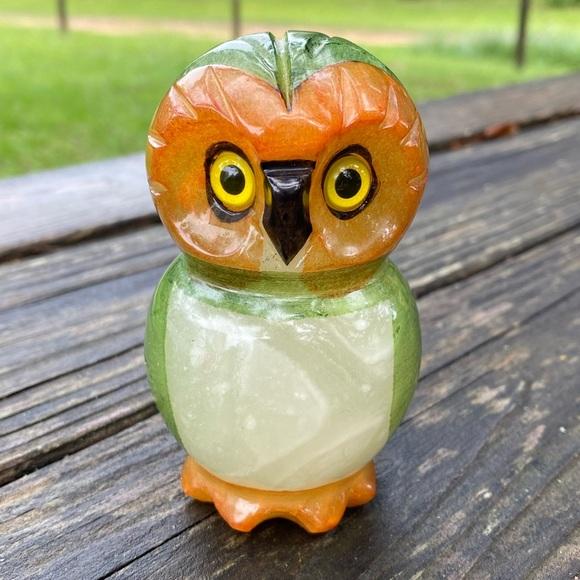 Vintage Genuine Hand Carved Alabaster Owl
